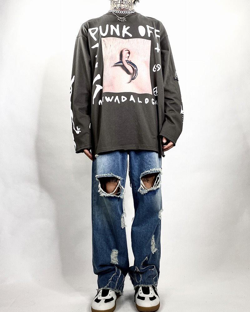 《2色》PUNK OFF ロングTシャツの画像4